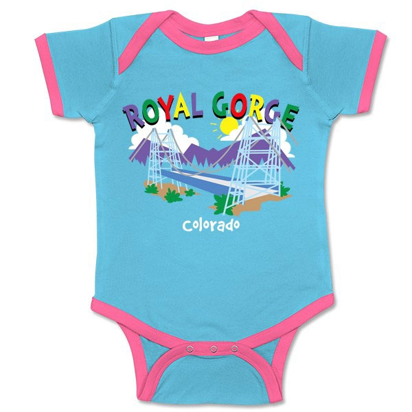 INFANT ROMPER WHIMISICAL ROYAL GORGE BRIDGE-AQUA/PINK