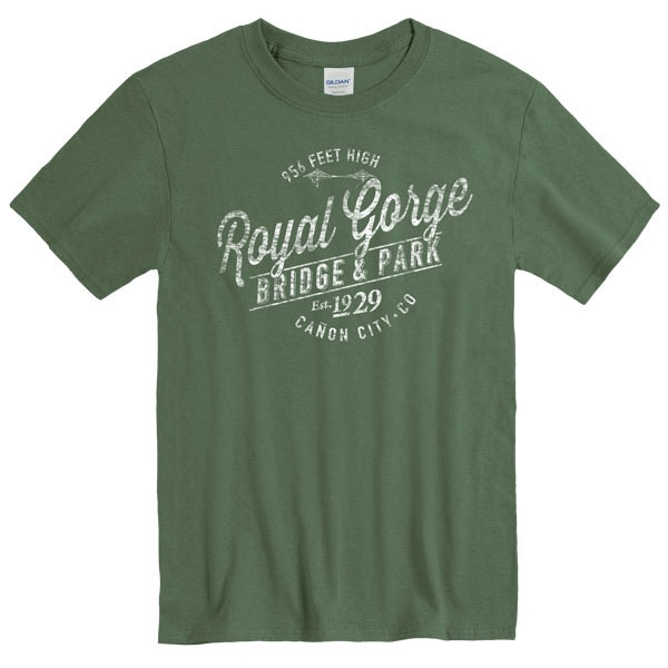 ADULT SHORT SLEEVE TEE ESCALATE ROYAL GORGE BRIDGE-MILITARY GREEN