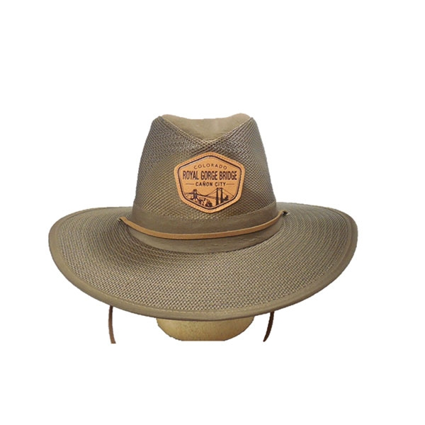 ADULT MESH AUSSIE WITH LOGO PATCH-BROWN