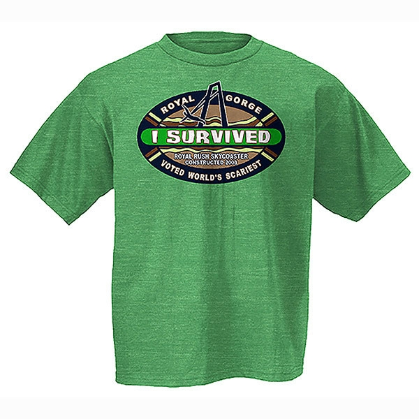 ADULT SHORT SLEEVE TEE I SURVIVED SKY COASTER-KELLY GREEN