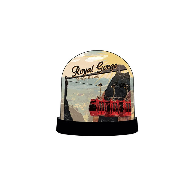VINTAGE POSTER ROYAL GORGE BRIDGE SNOWGLOBE
