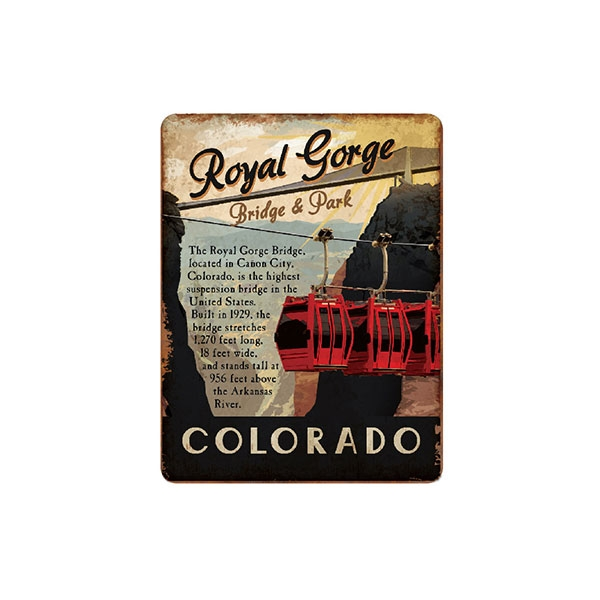 VINTAGE ROYAL GORGE BRIDGE TIN MAGNET