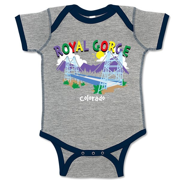 INFANT ROMPER WHIMISICAL ROYAL GORGE BRIDGE-HEATHER/NAVY