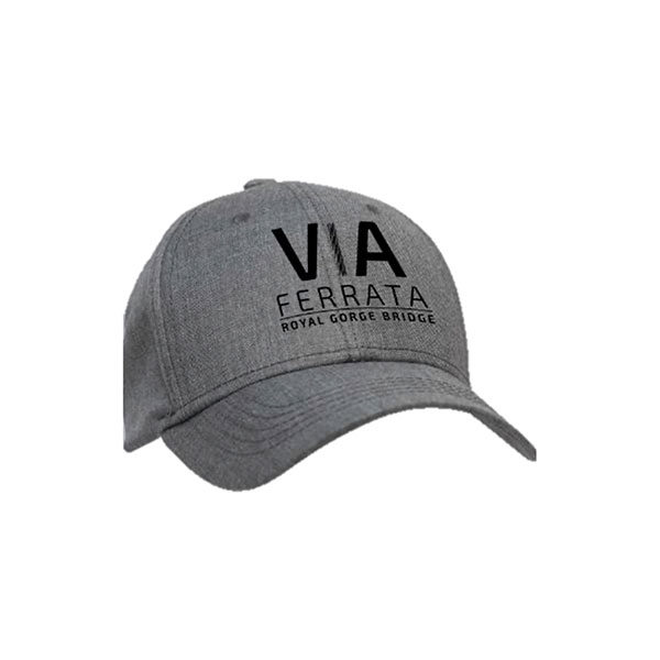 ADULT BASEBALL HAT VIA FERRATA TEXT-HEATHER GREY