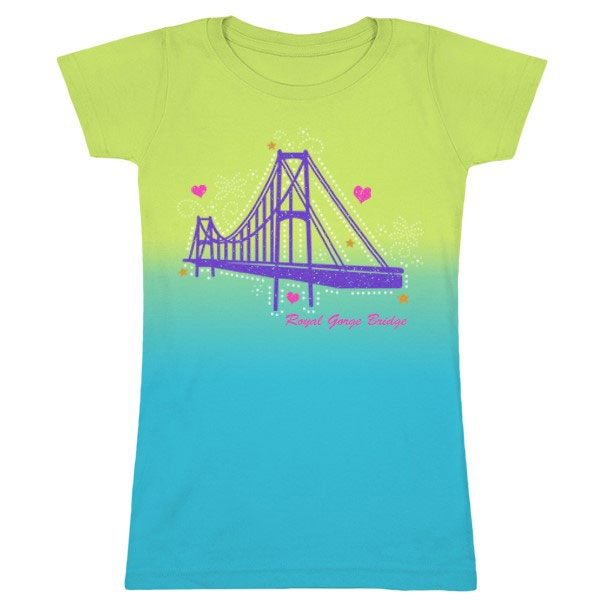 YOUTH SHORT SLEEVE TEE DIE CUT ROYAL GORGE BRIDGE-LIME/AQUA