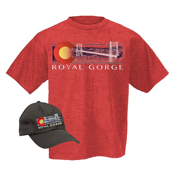 ADULT HAT/TEE COMBO OMBRE ROYAL GORGE BRIDGE-RED HEATHER/CHARCOAL