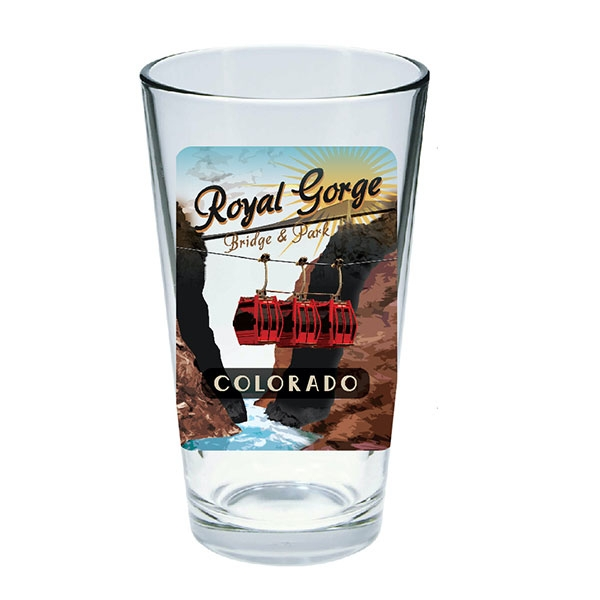 VINTAGE POSTER ROYAL GORGE BRIDGE PINT GLASS