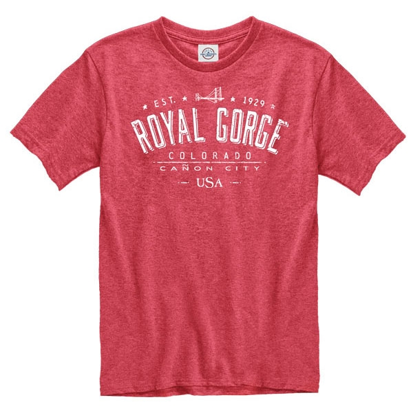 ADULT SHORT SLEEVE TEE RUDIMENT ROYAL GORGE BRIDGE-HEATHER RED