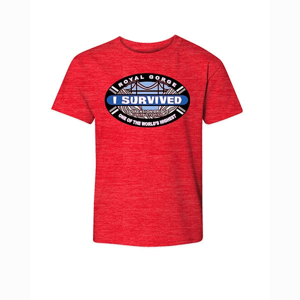 YOUTH SHORT SLEEVE TEE I SURVIVED ROYAL GORGE BRIDGE-RED HEATHER