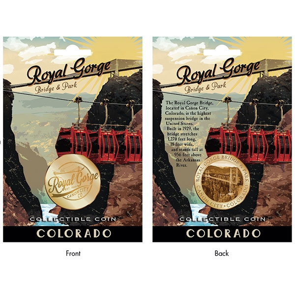 VINTAGE POSTER ROYAL GORGE BRIDGE CARDED COIN