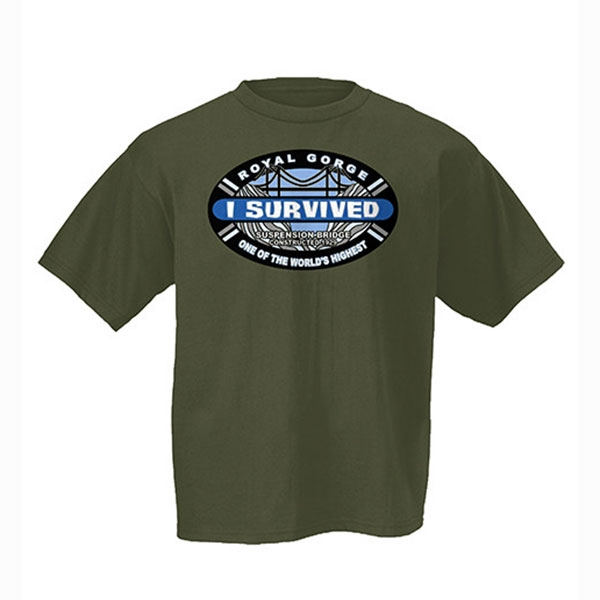 ADULT SHORT SLEEVE TEE I SURVIVED ROYAL GORGE BRIDGE-LODEN GREEN